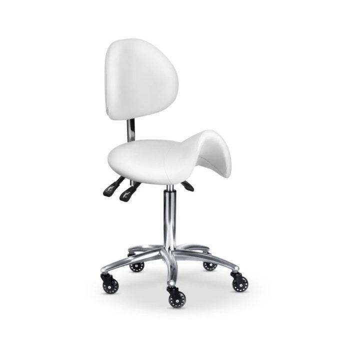 Tabouret d'esthétique blanc forme de selle, avec roulettes et freins, hauteur, assise, dossier réglables.