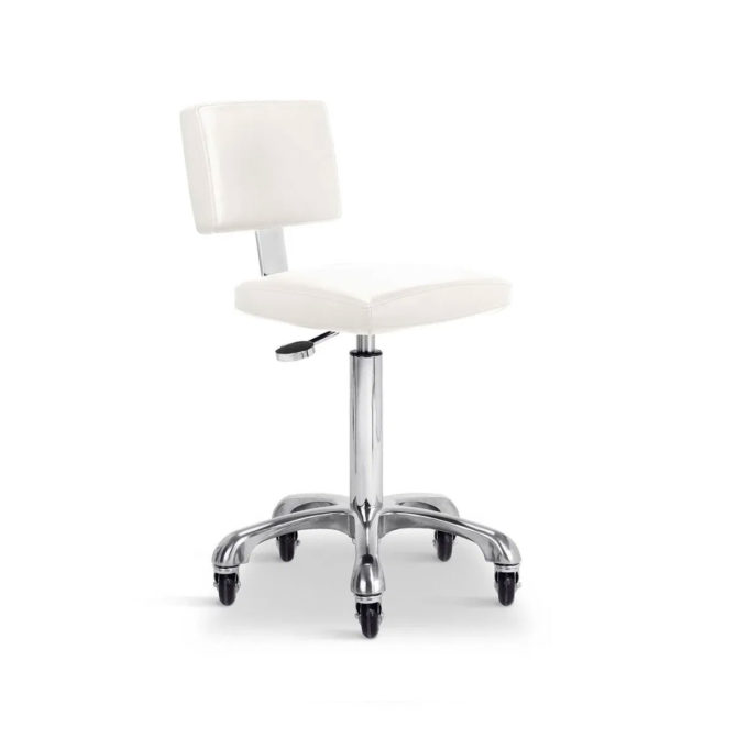 Chaise à roulettes pour institut de beauté, blanc réglable en hauteur