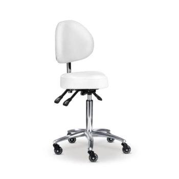tabouret esthétique blanc avec dossier, assise et hauteur réglables, roulettes avec freins