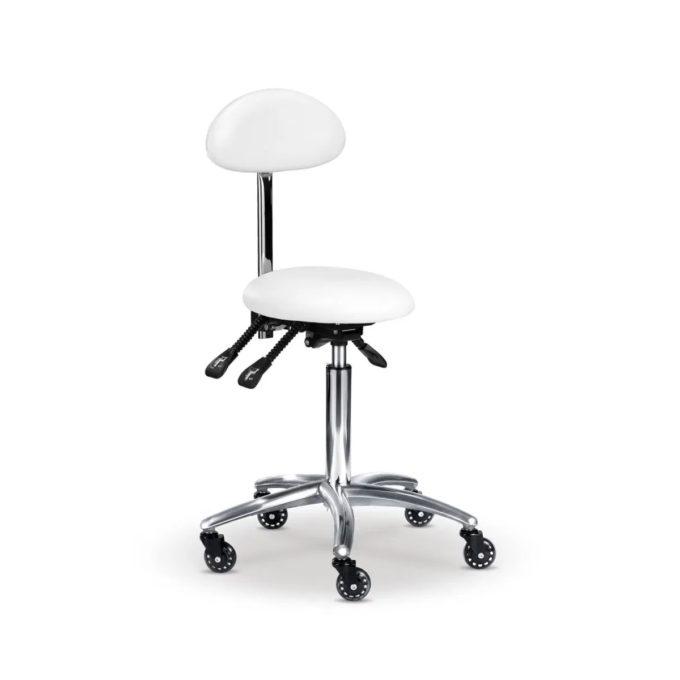 Tabouret d'esthétique blanc assise ronde et bombée, dossier enveloppant, hauteur, ajustables