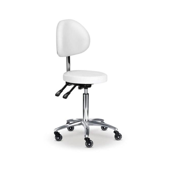 Tabouret d'esthéticienne avec assise ronde, dossier et hauteur réglables, blanc, roulettes, frein