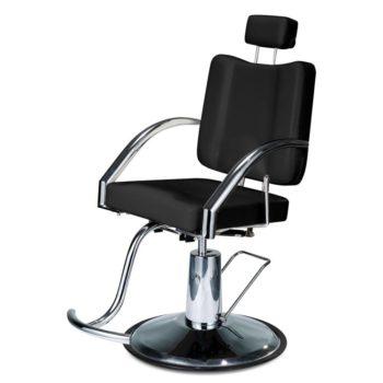 Fauteuil de barbier noir et métal brillant