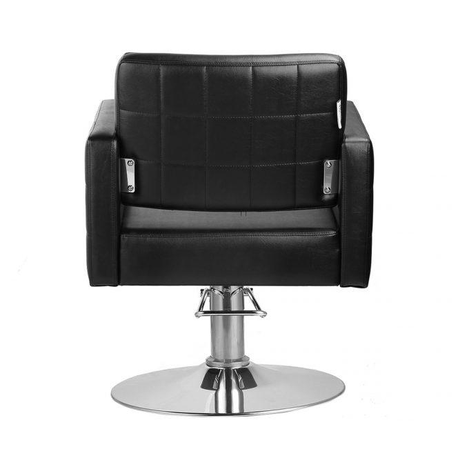 siège de coiffure noir effet capitonné avec base en métal ronde