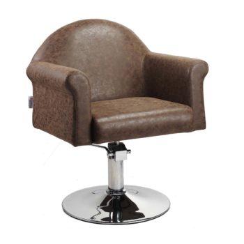 Fauteuil chic marron avec assise large et confortable pied rond