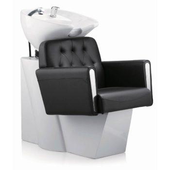 Combiné bac et fauteuil à shampoing confortable et design rétro, noir et blanc