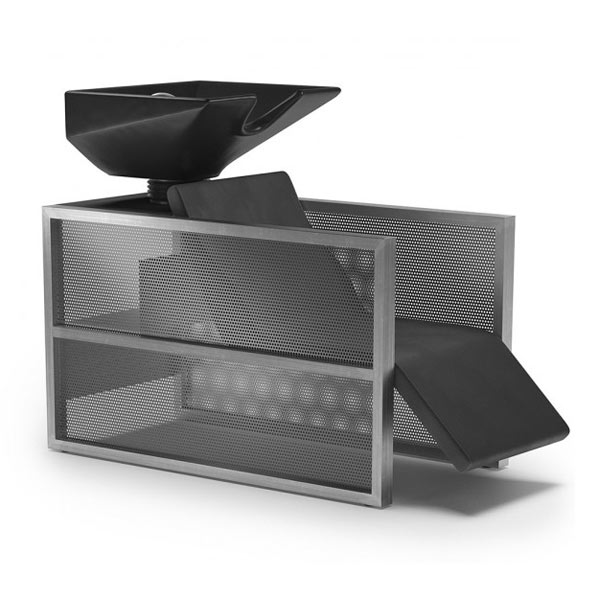 Bac de lavage avec repose jambes, relax, noir et structure métallique