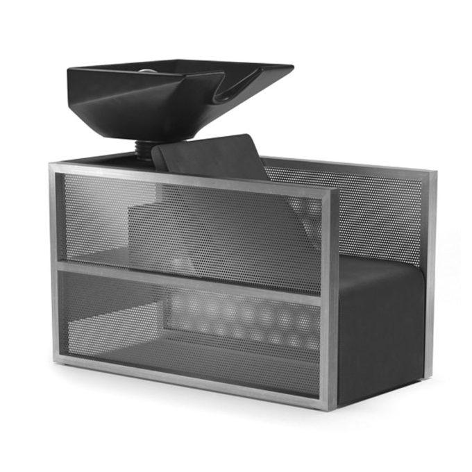 Bac à shampoing avec vasque noir, siège en mousse noir et structure en maille métallique