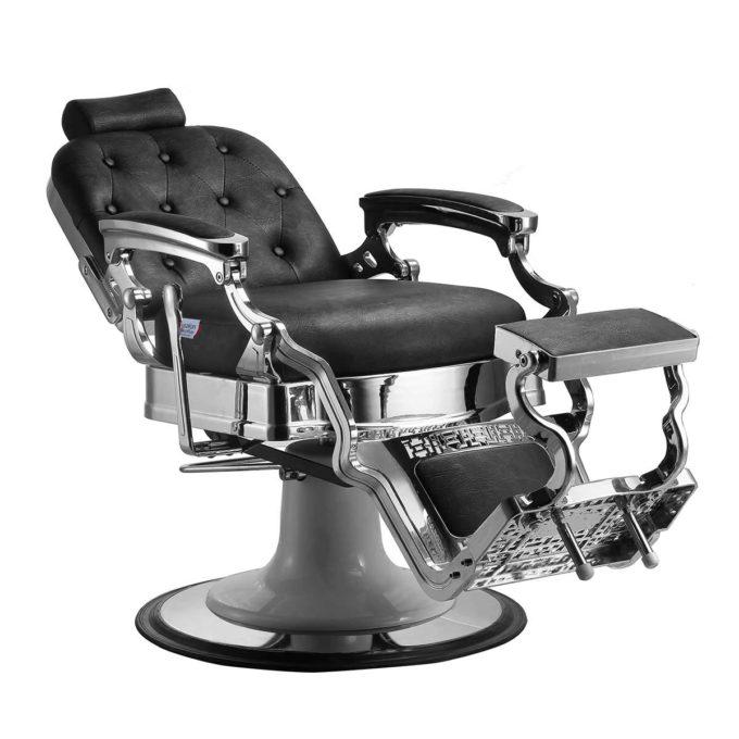 fauteuil barber shop noir et chromé avec base blanche