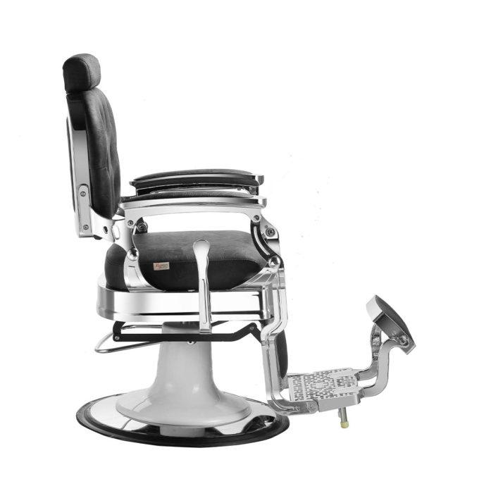 fauteuil rétro coiffeur barbier noir et métal