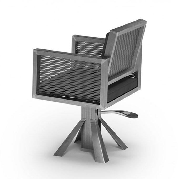 fauteuil de coiffage design industriel métal et noir