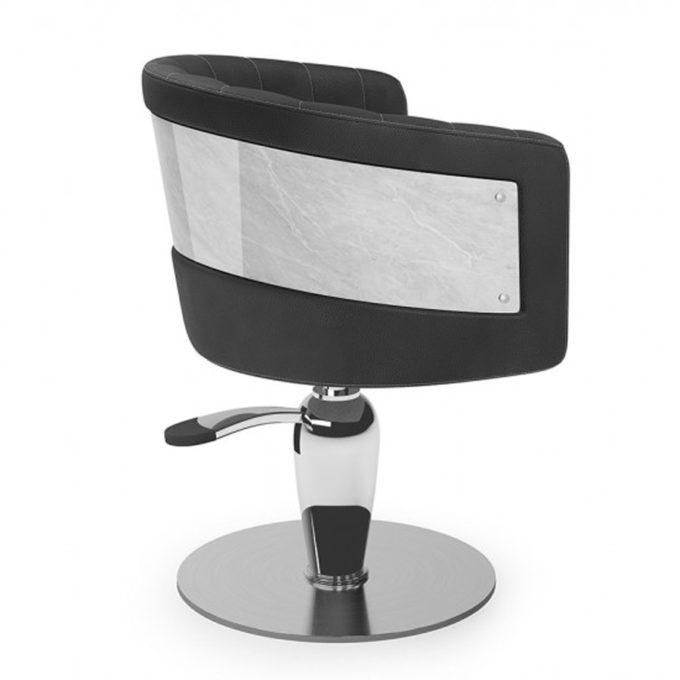 fauteuil élégant avec effet marbre pied rond et forme convexe