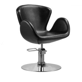 Fauteuil de coiffure avec pied rond en métal brillant, pompe hydraulique et forme monobloc pour nettoyage facile, pvc noir
