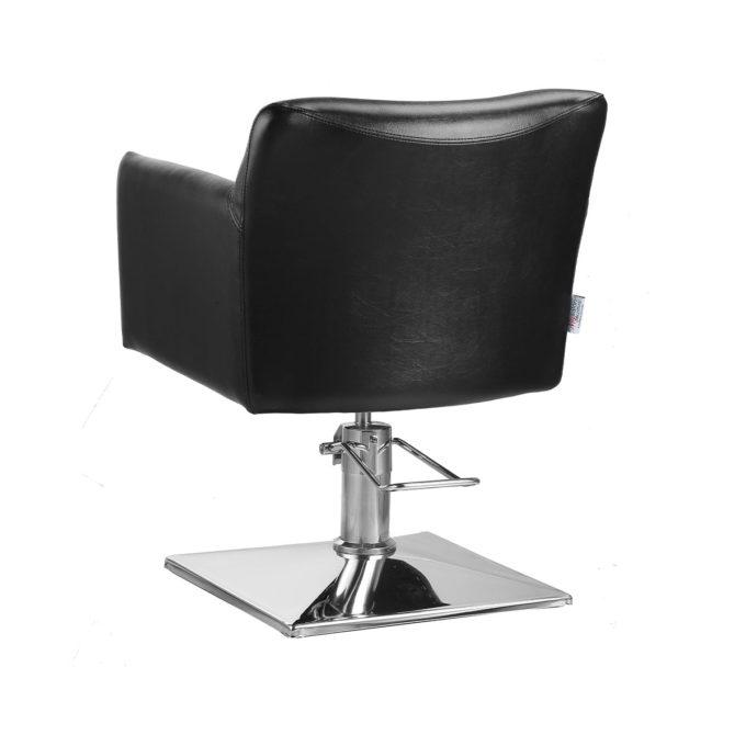 fauteuil de coiffure noir avec base carré plate