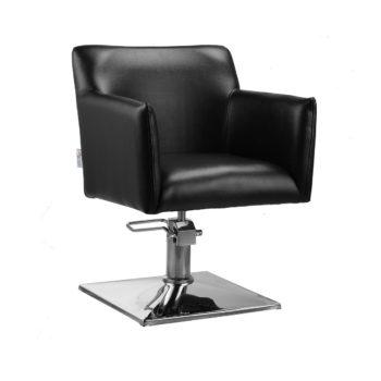 siège de coiffure en similicuir noir, pied carré métal brillant, pompe de réglage hauteur, assise large