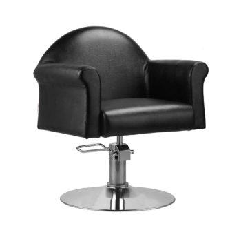 Fauteuil élégant de coiffure large noir avec base rond et pompe hydraulique