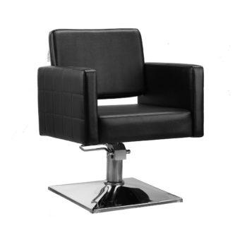 fauteuil de coiffure formes rectangulaires assise large et profonde finitions similicuir noir pied chromé