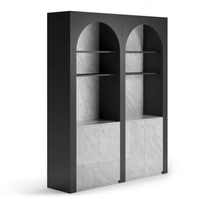 Meuble de présentation et rangement avec finitions effet marbre et façade arrondie