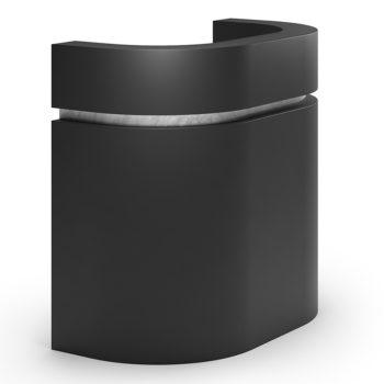 Meuble caisse forme arrondie avec finition marbre sur la partie frontale, multiples rangements
