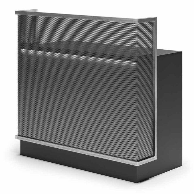 Meuble d'accueil noir et métal maillé avec rangements et tiroir caisse