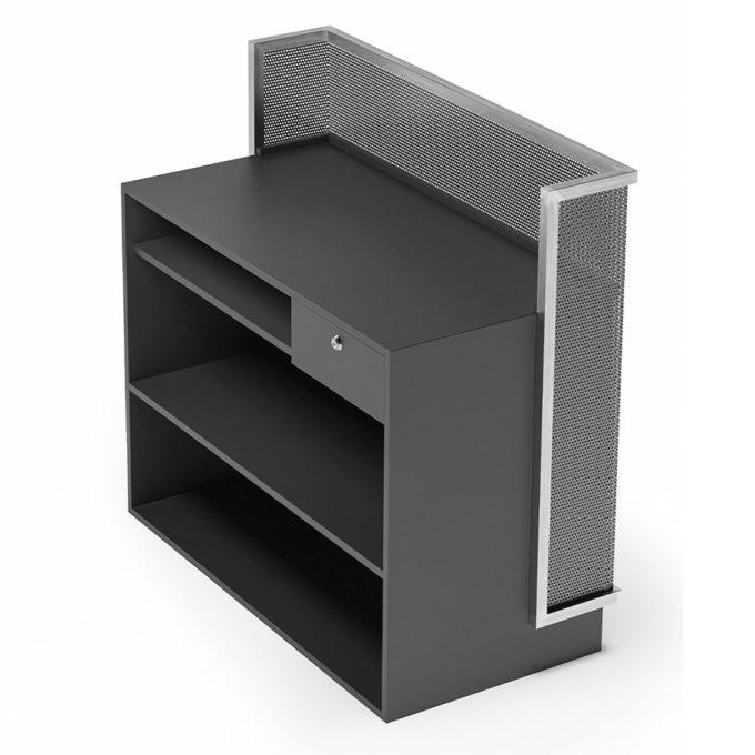 Réception caisse laminé noir et finition en maille de métal, avec étagères et tiroir à clé