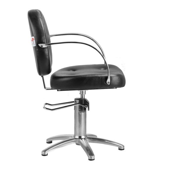 fauteuil de coiffure style rétro avec pied étoile et pompe hydraulique