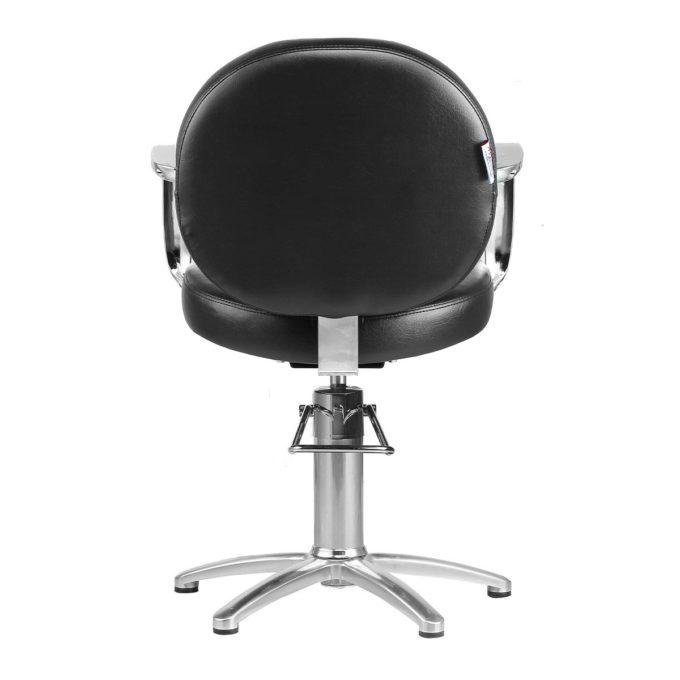 fauteuil de coiffure léger et peu spacieux noir et chromé