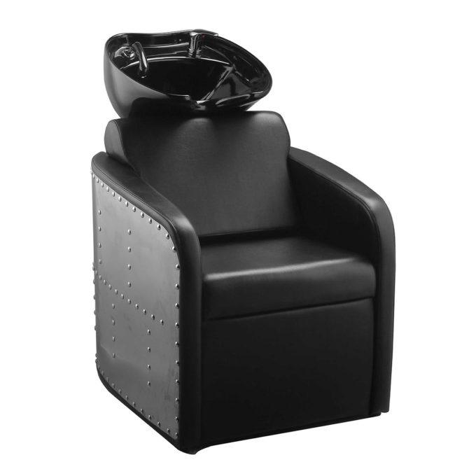 Bac à shampoing métal brillant et clouté avec assise et vasque noires