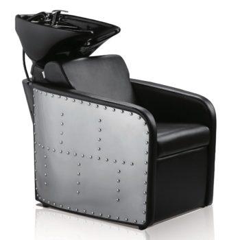 Bac à shampoing noir avec vasque noir, contour en acier clouté et assise en pvc noir