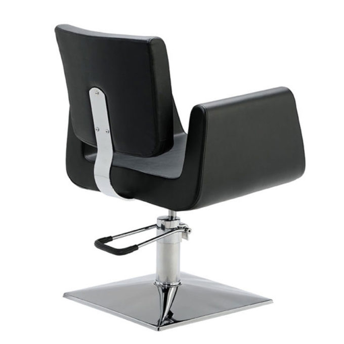arrière siège de coiffeur noir base carrée