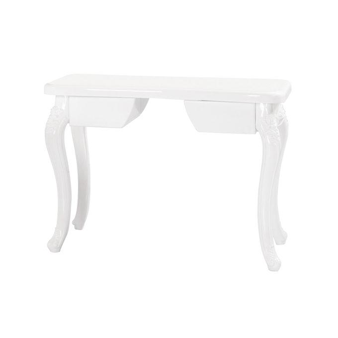 Elégante table de manucure en bois blanc laqué