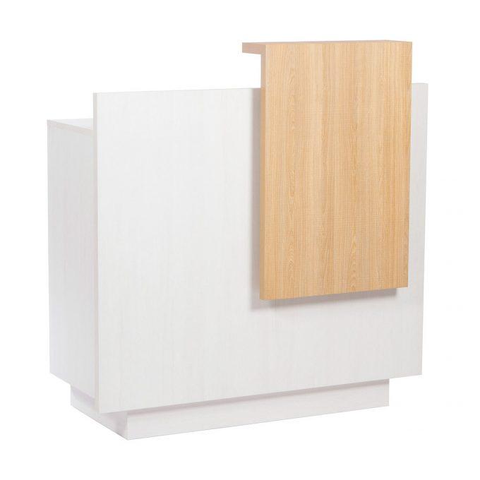 meuble réception caisse avec finition frontal et tablette en bois