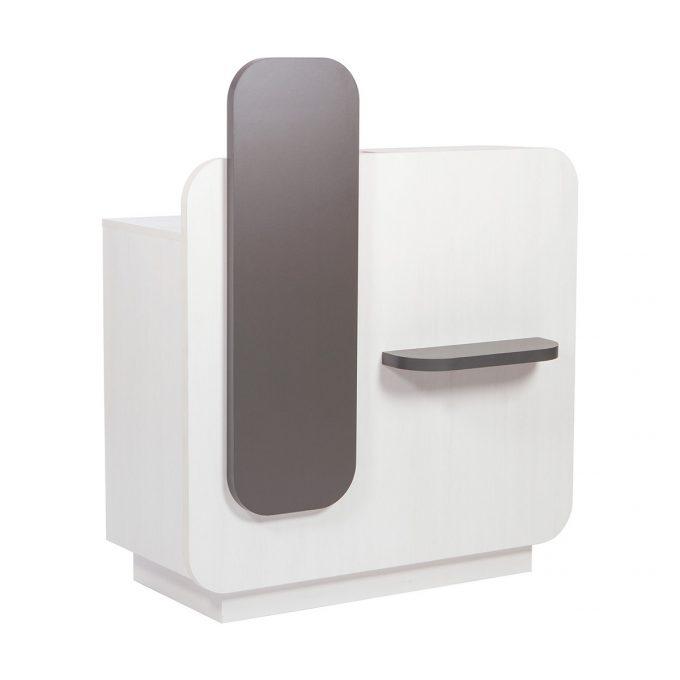 meuble réception caisse avec finition frontal et tablette gris graphite
