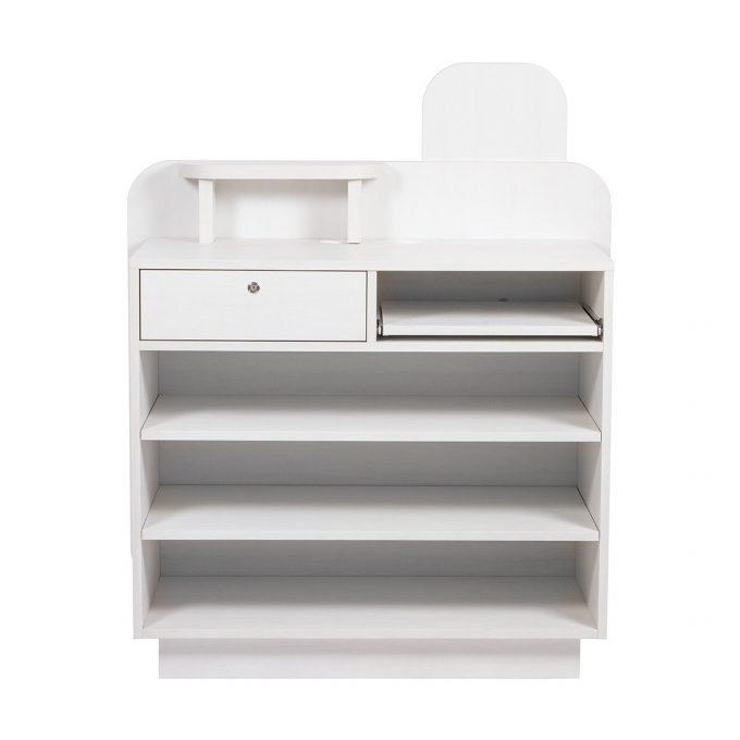 meuble caisse blanc avec étagères et tiroir pc et caisse