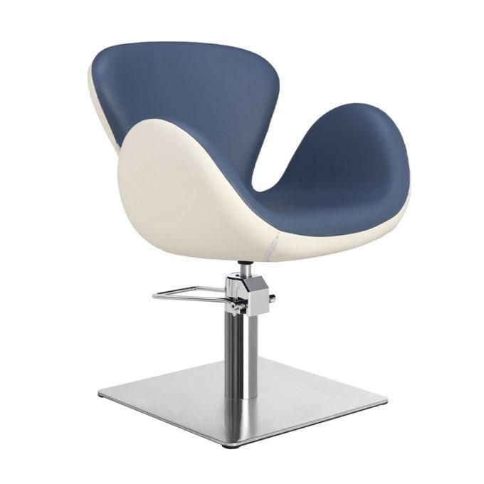 Chaise de coiffeur pied carre bleu et blanc
