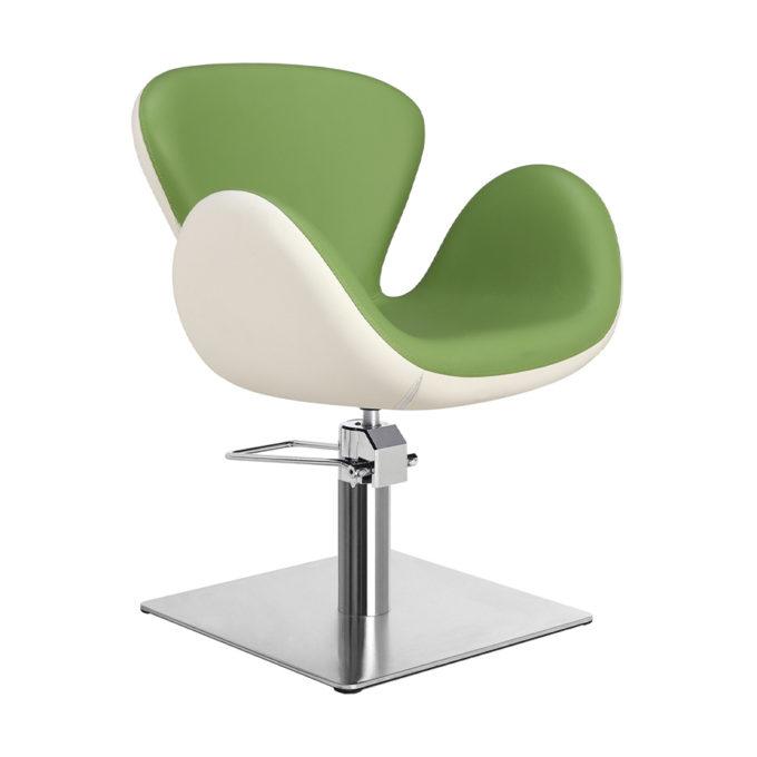 Chaise de coiffeur pied carre vert et blanc