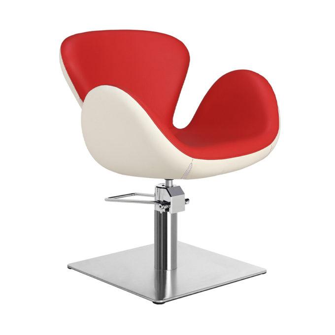 Chaise de coiffeur pied carre rouge et blanc