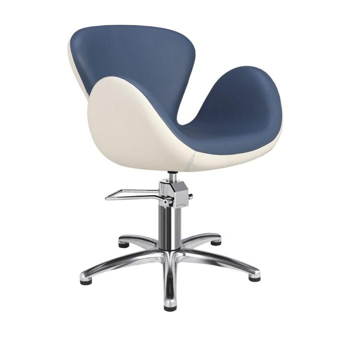 Chaise de coiffeur pied étoile bleu et blanc