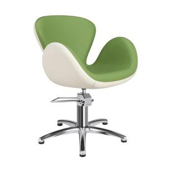 Chaise de coiffeur pied étoile vert et blanc