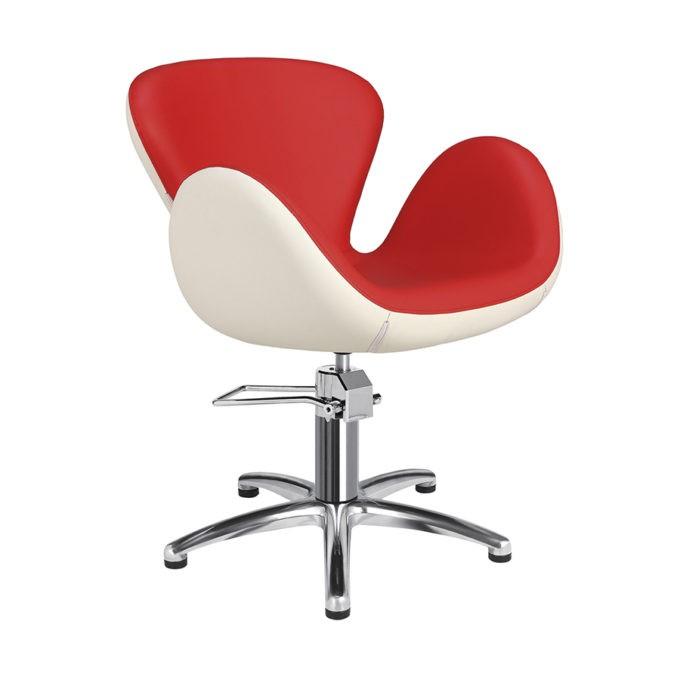 Chaise de coiffeur pied étoile rouge et blanc