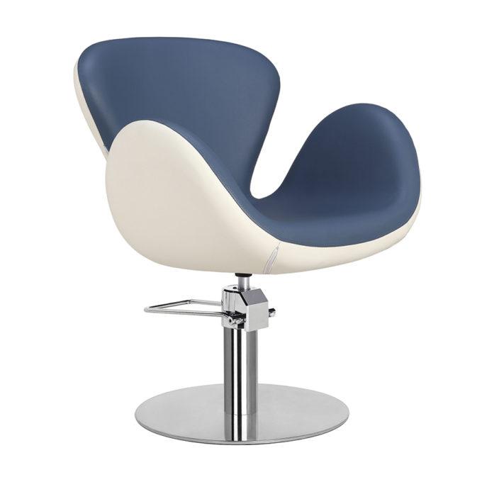 Chaise de coiffeur pied rond bleu et blanc