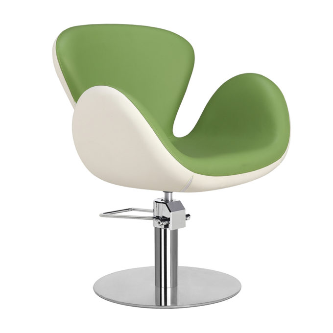 Chaise de coiffeur pied rond vert et blanc