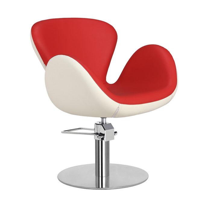 Chaise de coiffeur pied rond rouge et blanc