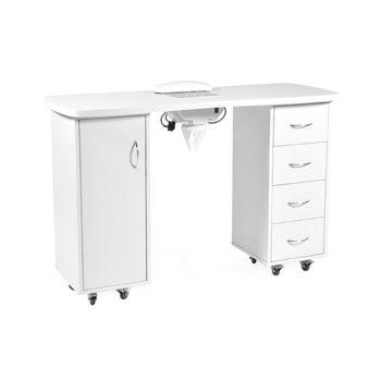 Table de manucure avec aspirateur, placard et 4 tiroirs de rangement