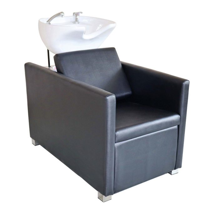 bac de lavage simple noir et évier blanc avec pieds en métal brillant