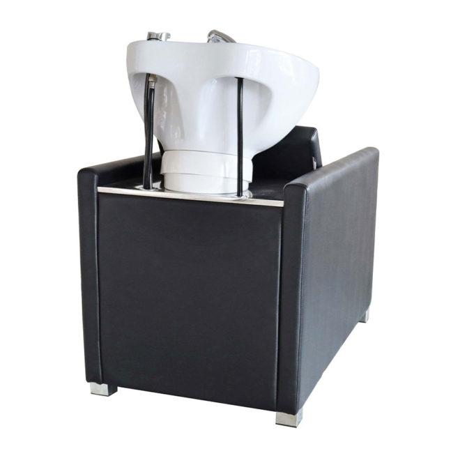 bac de lavage noir avec vasque basculante blanche en céramique
