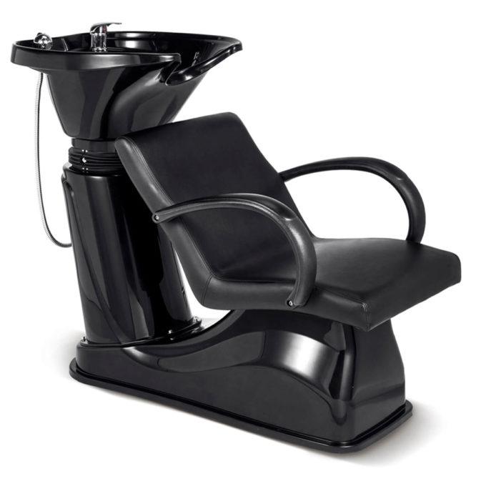 Bac à shampoing noir brillant assise confortable