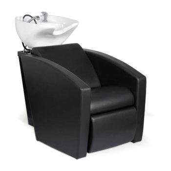 Bac avec évier et douchette, assise en mousse dense habillage noir en PVC.