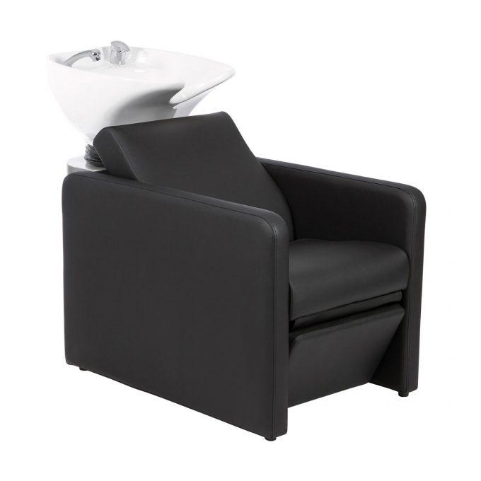 bac à shampoing noir avec vasque de lavage blanche
