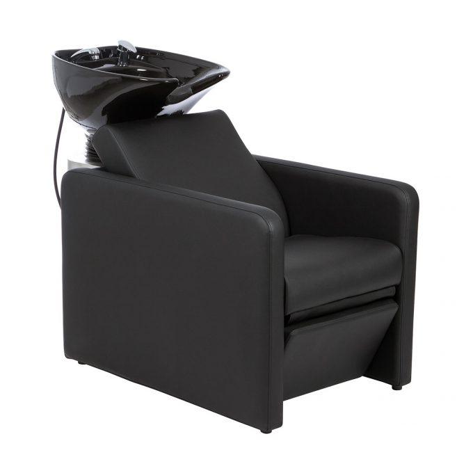 bac à shampoing noir avec vasque de lavage noire