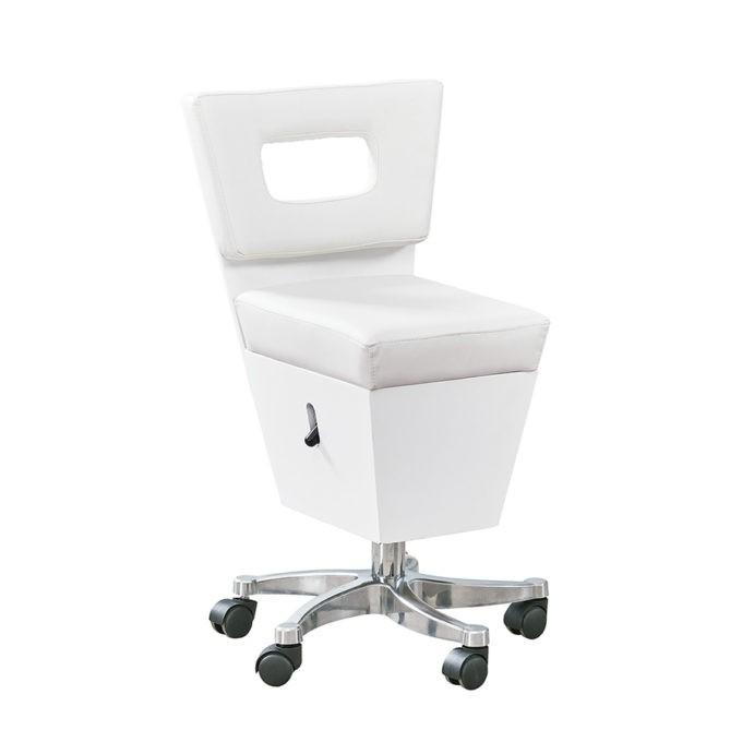 Chaise à roulettes pour espace spa couleur blanche réglable en hauteur